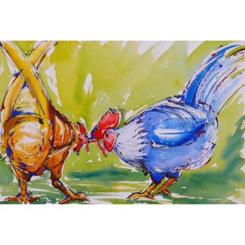 Zwei Hühner mit Wurm