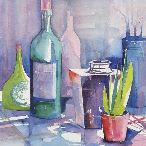 Stillleben mit Flaschen