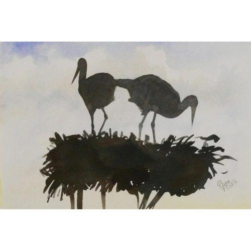 Störche auf Nest