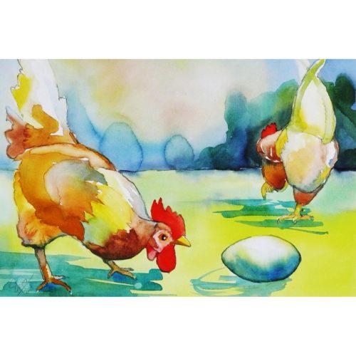Hühner mit Ei