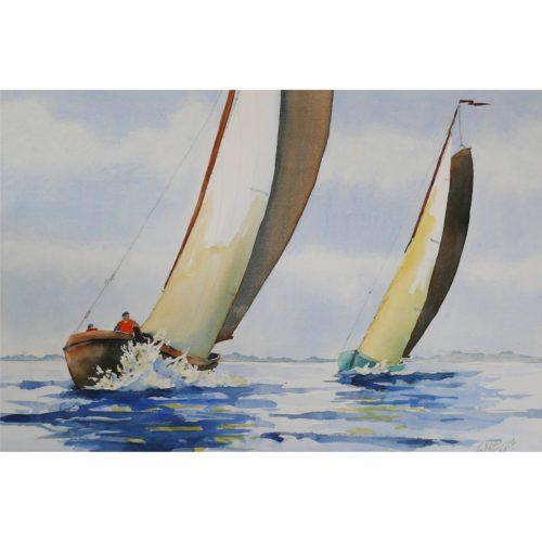 Zwei Tjalken Segelboote