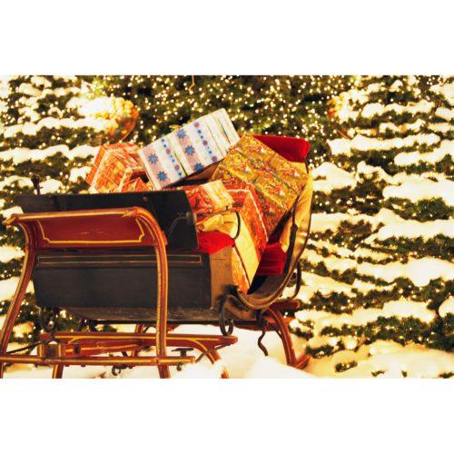 Schlitten mit Weihnachtspäckchen
